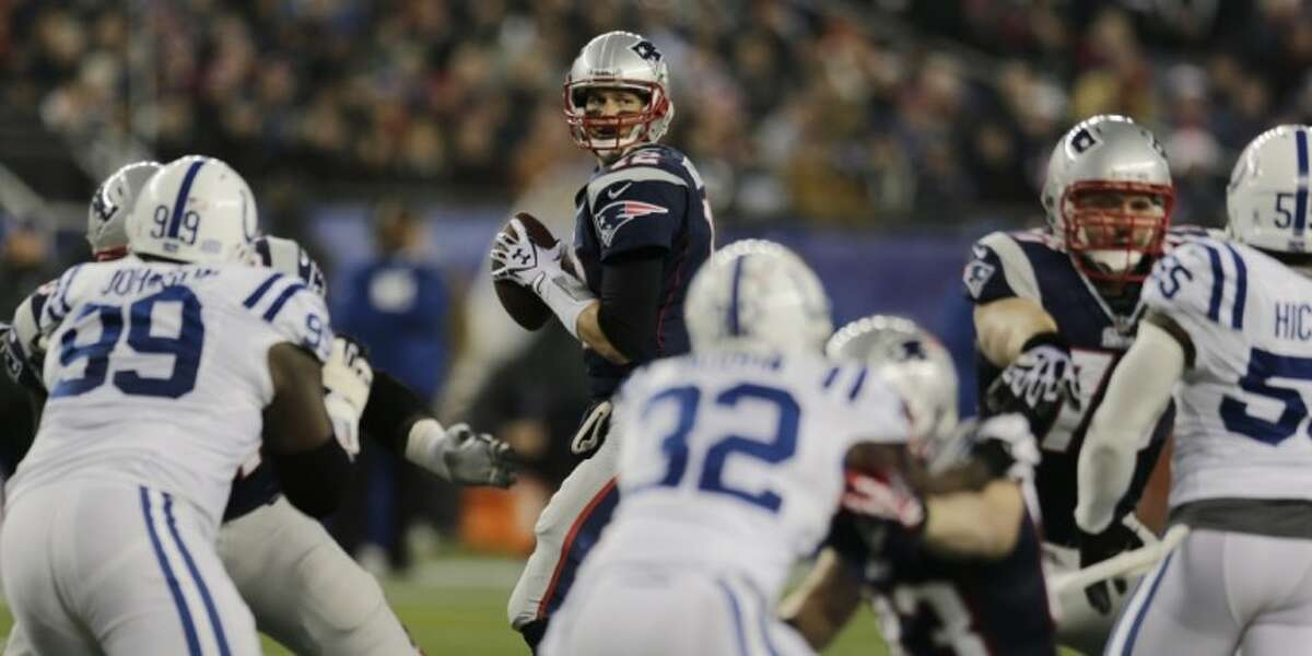 New England Patriots quarterback Tom Brady looks to pass against the Indianapolis Colts on Sunday at Gillette Stadium in Foxborough, Mass.
