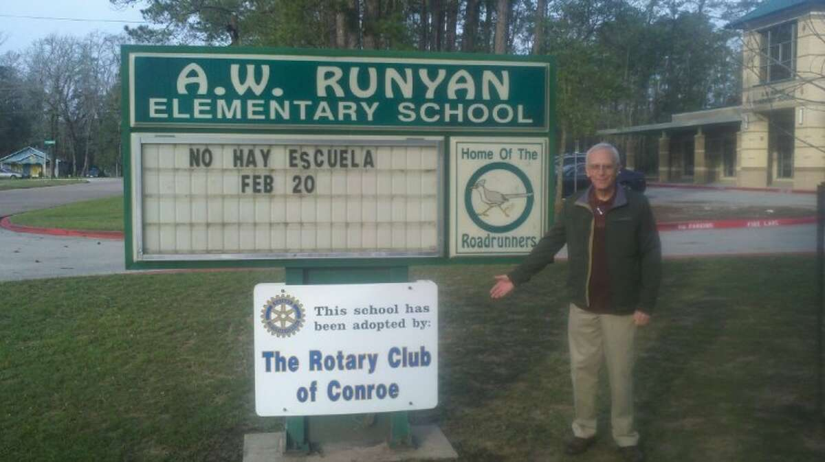 The Rotary Club of Conroe hosted a welcome coffee with pastries during a Teacher's Work Day Feb. 20. Rotarian Don Stocking stands by the Runyan Monument sign on Foster Street, which proudly proclaims that the Rotary Club of Conroe is supporting the school. In addition to the recent Teacher's Work Day Coffee, the Rotary Club of Conroe donates a book to the library each week in honor of speakers who visit the Rotary, the active mentoring program started by Rotarian Fred Greer, Book reading was Friday, as well as dedication of a soccer field paid for with funds from the Rotary Club of Conroe Foundation and the Rotary District 5910 Foundation.