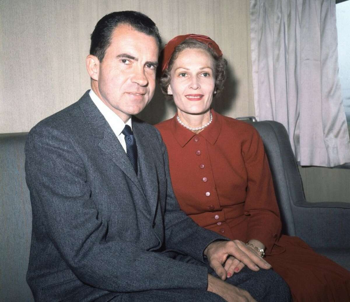 In this June 5, 1960 file photo, former President Richard Nixon, left, and his wife Pat pose for photos while campaigning at Rockefeller Center in New York. Six love letters between the 37th president and his wife will go on display Friday as part of an exhibit at the Richard Nixon Presidential Library and Museum.