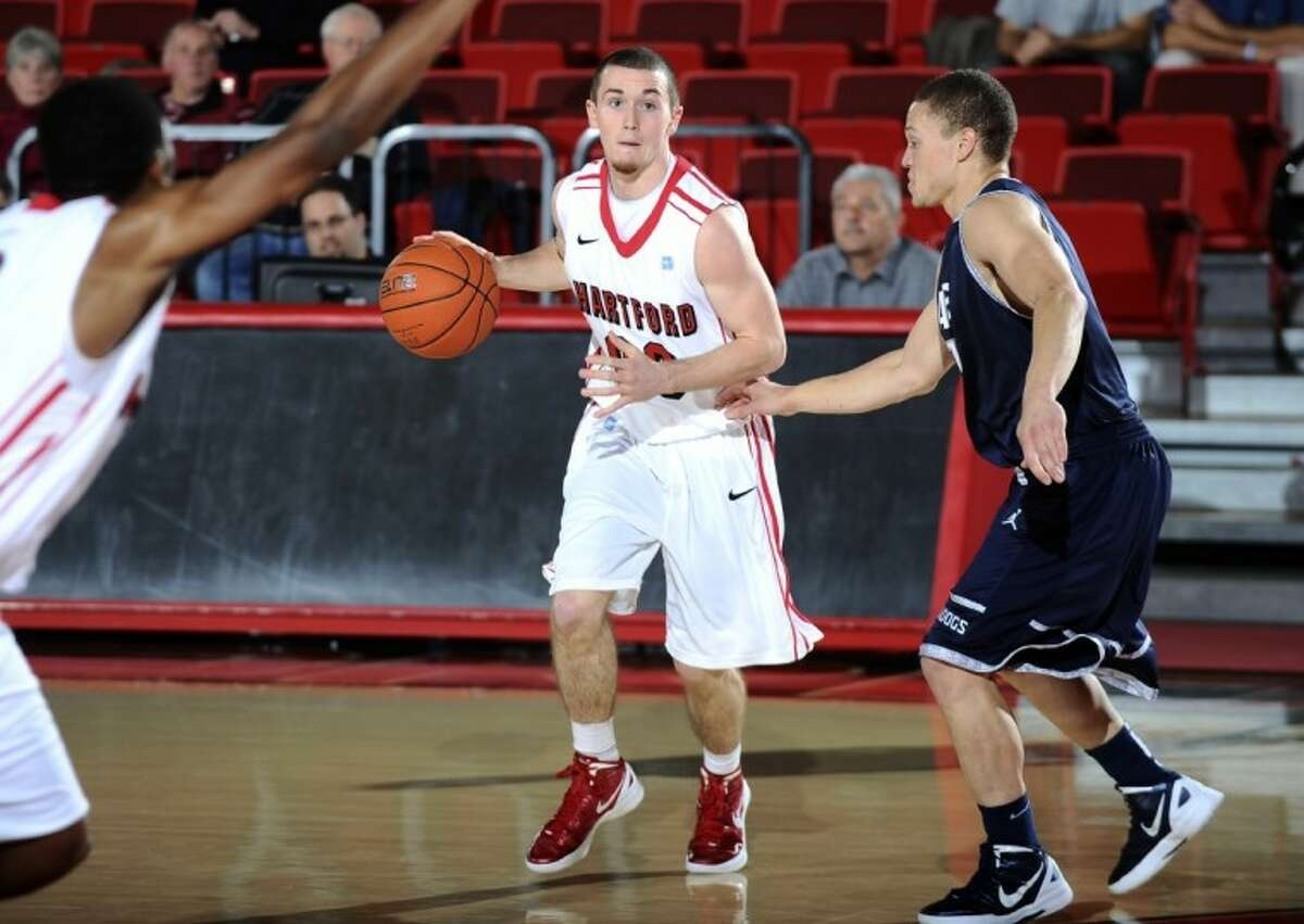 The Woodlands High School graduate Wes Cole is leading the University of Hartford basketball team with 10.8 points per game this season.