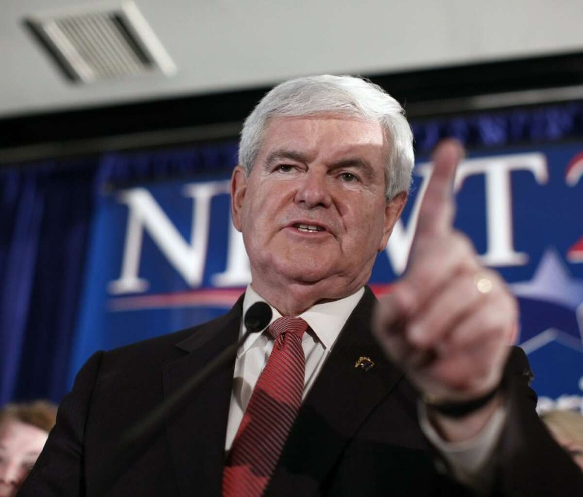 Republican presidential candidate and former House Speaker Newt Gingrich speaks during aSouth Carolina Republican presidential primary night rally, Saturday, Jan. 21, 2012, in Columbia, S.C. (AP Photo/Matt Rourke)