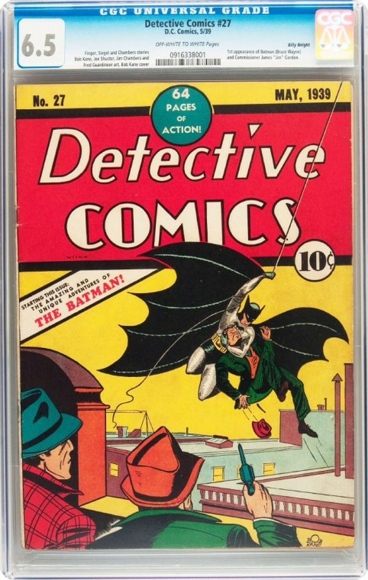 This Feb. 13 handout photo provided by Heritage Auction, shows the CGC-Certified 6.5 copy of Detective Comics #27 from the Billy Wright Collection at Heritage Auctions in Dallas.