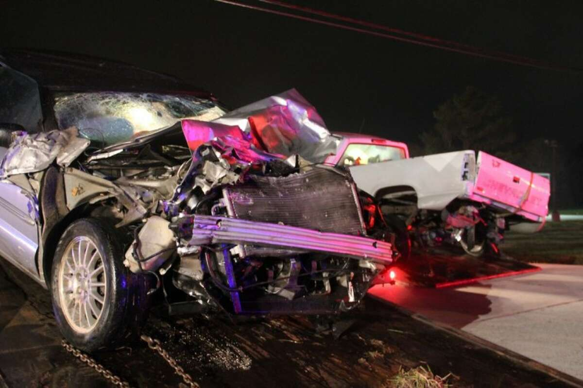 The photos above and below show the results of a deadly car accident Wednesday night.