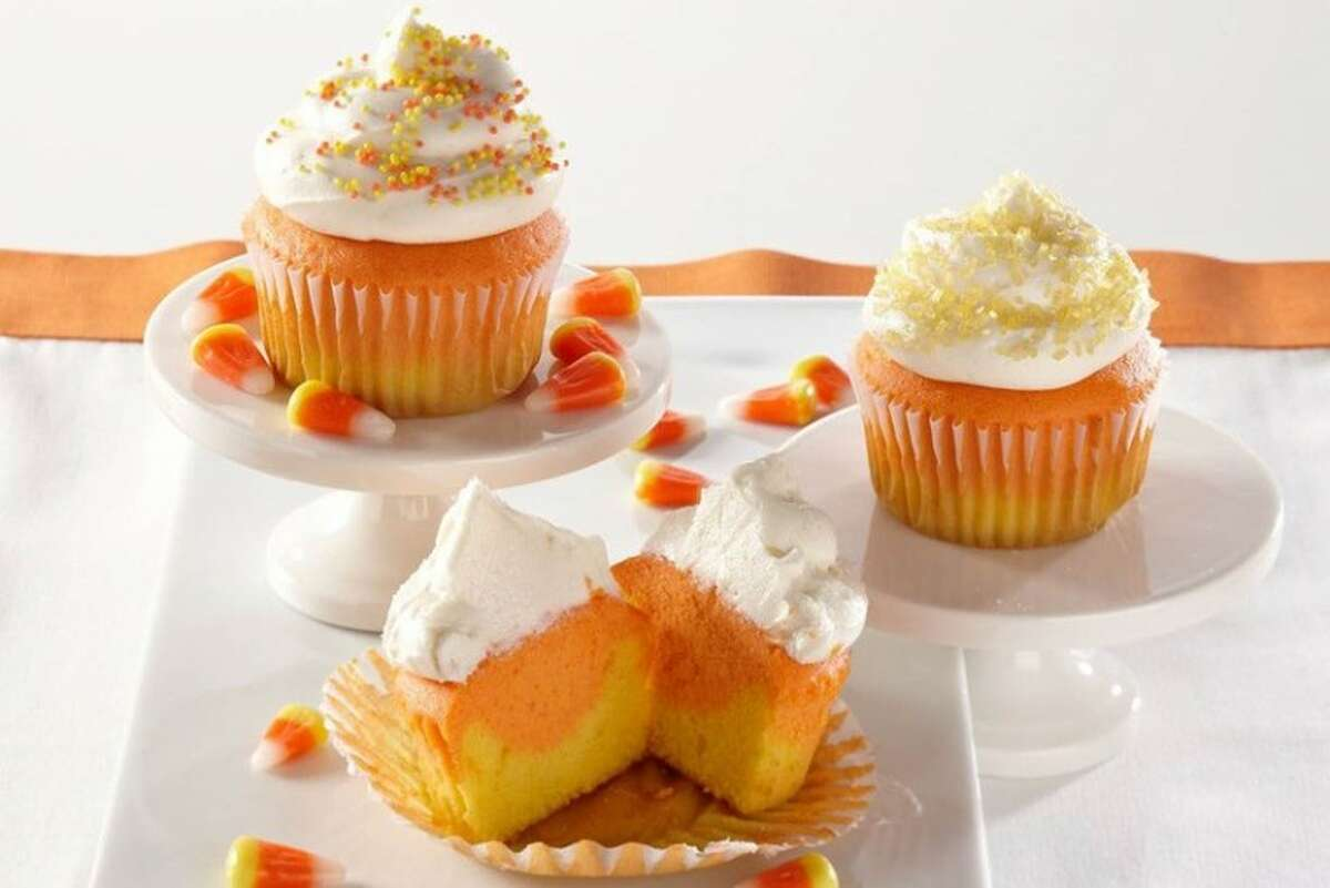 These colorful cupcakes highlight Halloween's signature candy, the Candy Corn.