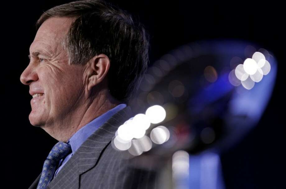 New England Patriots head coach Bill Belichick speaks during a news conference for NFL football's Super Bowl XLVI Friday in Indianapolis. Photo: David J. Phillip