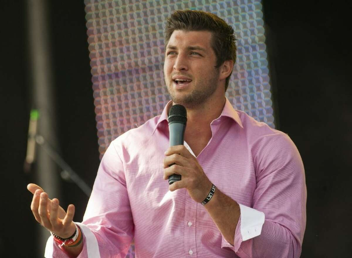 New York Jets quarterback Tim Tebow speaks at the Easter service of Celebration Church in Georgetown, Sunday.