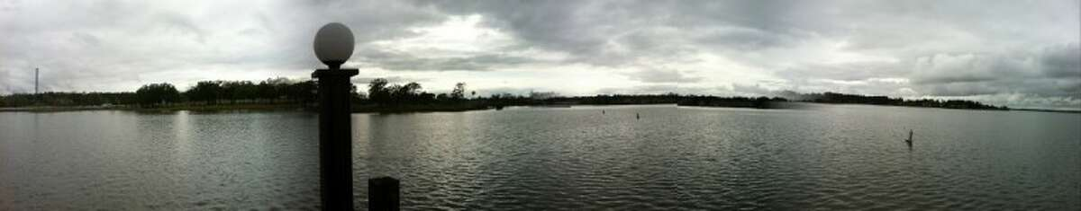 This panoramic shot shows Lake Conroe after heavy rains fell on Montgomery County Tuesday morning.