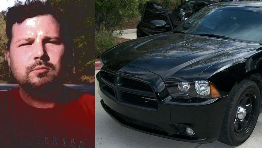 """David Brian Webb, inset, had to forfeit his black 2011 Dodge Charger containing a """"police interceptor package"""" with lights, radio, scanner, siren, spotlight, a dashboard video recorder and a fake DEA badge."""