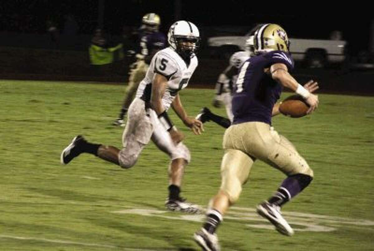 Montgomery wide receiver Bodhi Bell heads for a long gain after hauling in a pass from quarterback Josh Bolfing.