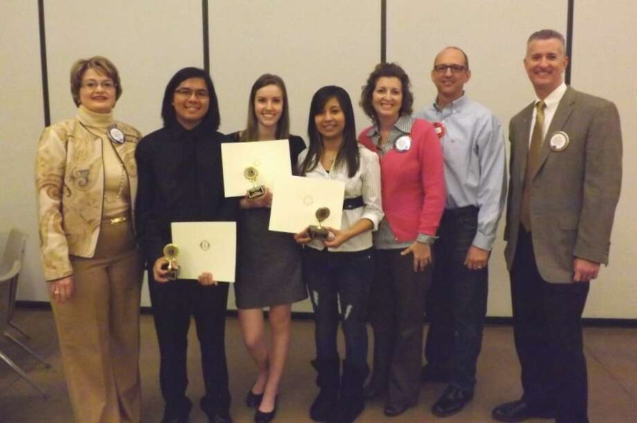 The Conroe Noon Lions Club had its Outstanding Youth Scholarship Contest Wednesday and awarded $4,000 to the top three contestants. Pictured (left to right) are: Lion Marcia Mazingo, Joey Dee Mendoza, Kathryn Feder, Leticia Arellano, Committee Chair Stacey Jata, Lion Eric Shaffer and Club President Rich Sproba.