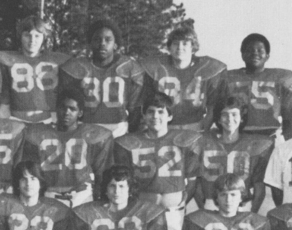 Jonathan Green wears number 30 and Brett Ligon wears number 52 in this seventh- grade team school photo.
