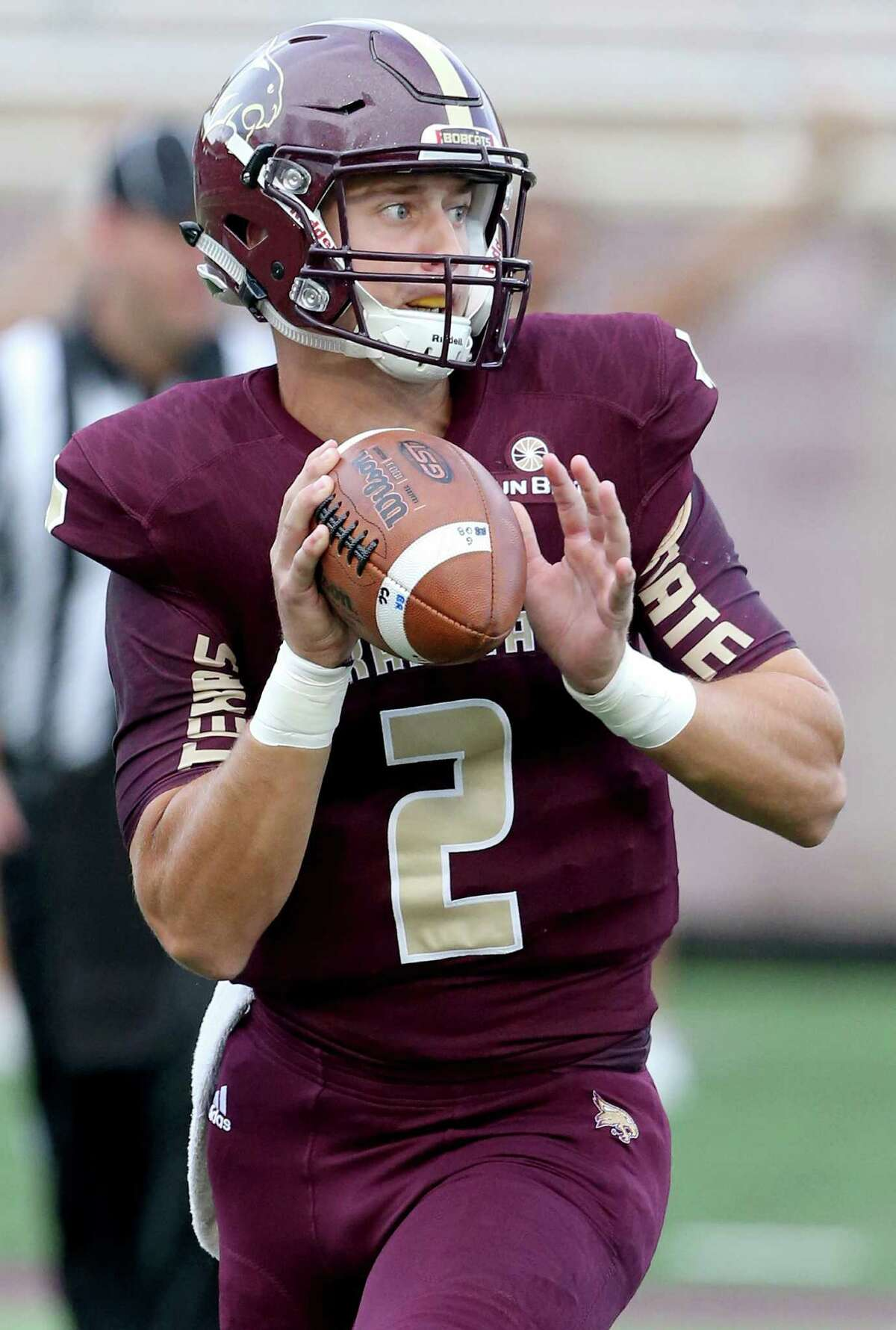 Texas State Bobcats quarterback Tyler Jones looks to pass during first half action against the Houston Cougars Saturday Sept. 24, 2016 at Bobcat Stadium in San Marcos, Tx.