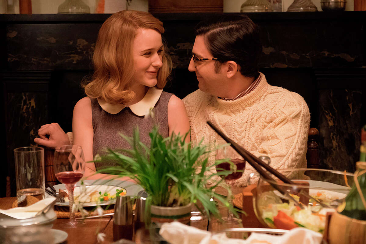 In Woody Allen's first TV project, he plays a husband with no kids but a parental interest in their friends' son (John Magaro, right), who is engaged to a straitlaced Rachel Brosnahan.