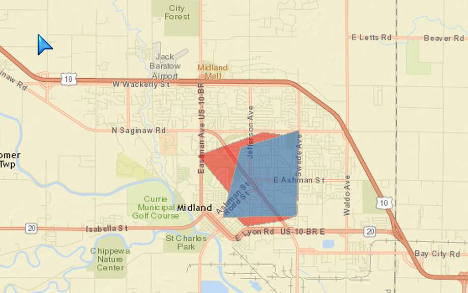 The area affected by a Sunday power outage.
