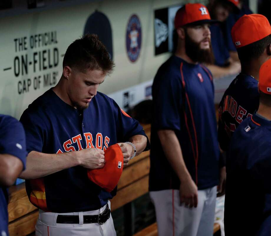 Houston Astros pitcher Ken Giles (53)in the dugout before the start of an MLB game at Minute Maid Park, Sunday, Sept. 25, 2016 in Houston. Photo: Karen Warren, Houston Chronicle / 2016 Houston Chronicle