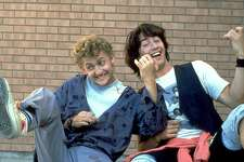 """** ADVANCE FOR WEDNESDAY, NOV. 5 Actors Keanu Reeves, right, as Ted, and Alex Winter as Bill, appear in a scene from the 1989 comedy """"Bill & Ted's Excellent Adventure,"""" in this undated promotional photo. For more than a decade, no matter the far-ranging roles and genres he tried, Reeves was inescapably identified as the nitwitted dude Ted. Now at age 39, Reeves faces life after Neo, the most-solemn messiah of """"The Matrix"""" trilogy.(AP Photo/MGM).     HOUCHRON CAPTION (11/05/2003):  Keanu Reeves, right, has come a long way since """"Bill & Ted's Excellent Adventure"""" with Alex Winter.     HOUCHRON CAPTION (07/28/2004): Whoooa, Bill & Ted."""