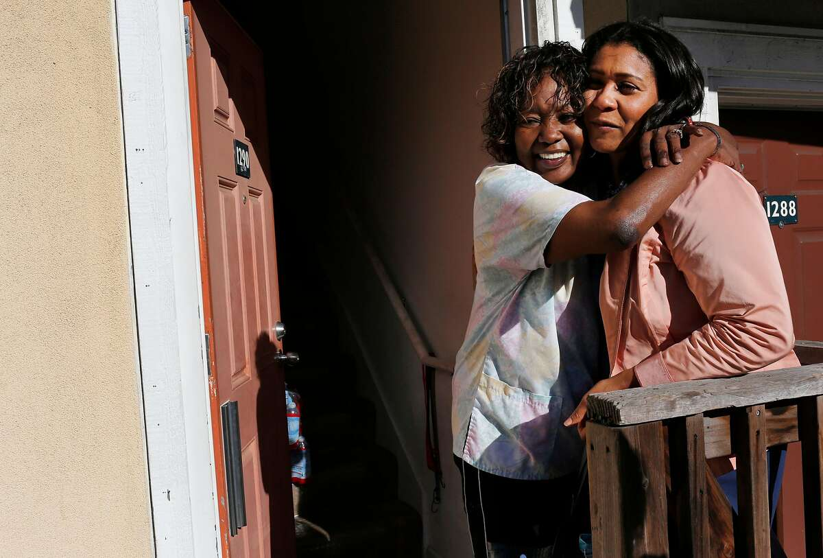 Supervisor London Breed gets a hug from Debra Hunt, who is thankful for Breed for helping her get the care she needs for her terminal interstitial lung disease as Breed tours with the San Francisco Chronicle in the Western Addition neighborhood, where she is from Sept. 21, 2016 San Francisco, Calif.