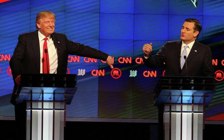 Donald Trump, left, and Sen. Ted Cruz engaged in a brisk and lively exchange during the GOP presidential primary debate at the University of Miami's Bank United Center in Coral Gables, Fla., in March. (Pedro Portal/El Nuevo Herald/TNS)