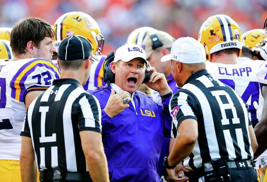 LSU head coach Les Miles reacts to a call during the first half of an NCAA college football game against Auburn, Saturday, Sept. 24, 2016, in Auburn, Ala. (AP Photo/Butch Dill) Photo: Butch Dill, Associated Press / Associated Press