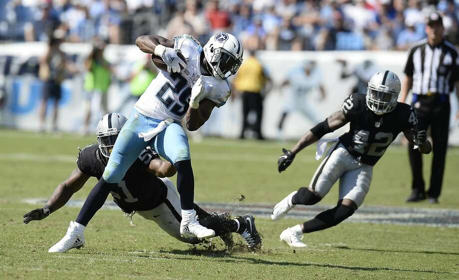 Tennessee Titans running back DeMarco Murray (29) gets away from Oakland Raiders outside linebacker Bruce Irvin (51) in the second half of an NFL football game Sunday, Sept. 25, 2016, in Nashville, Tenn. (AP Photo/Mark Zaleski) Photo: Mark Zaleski, Associated Press