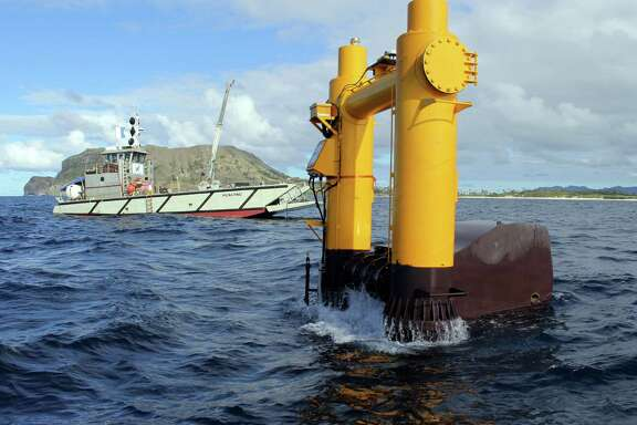 The Azura wave energy device converts the movement of waves into electricity at the Navy's Wave Energy Test Site at the Marine Corps base at Kaneohe Bay on Oahu in Hawaii. By some estimates, the ocean's endless motion packs enough power to meet a quarter of America's energy needs, but wave energy technology lags well behind wind and solar power.