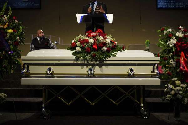 The casket for Melvin McKinney, who committed suicide in the Bexar County Jail, sits on display during his funeral at True Vision Church on August 2, 2016. There is something wrong in the Bexar County Sheriff's Office.