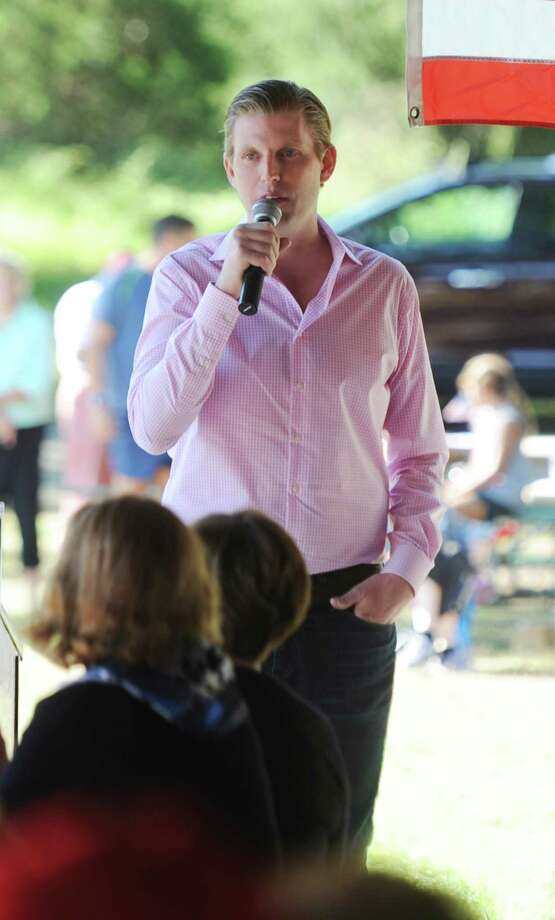 Eric Trump, son of Republican presidential nominee Donald Trump, mades a surprise appearance  at the Greenwich Republican Town Committee's clam bake at Greenwich Point on Sunday. Photo: Tyler Sizemore / Hearst Connecticut Media / Greenwich Time