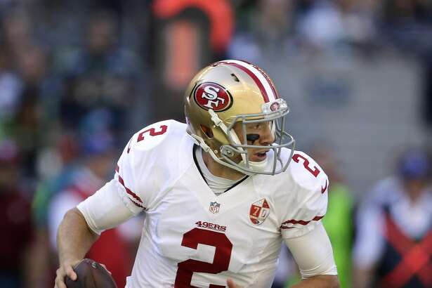 San Francisco 49ers quarterback Blaine Gabbert in action against the Seattle Seahawks in the second half of an NFL football game, Sunday, Sept. 25, 2016, in Seattle. (AP Photo/John Froschauer)