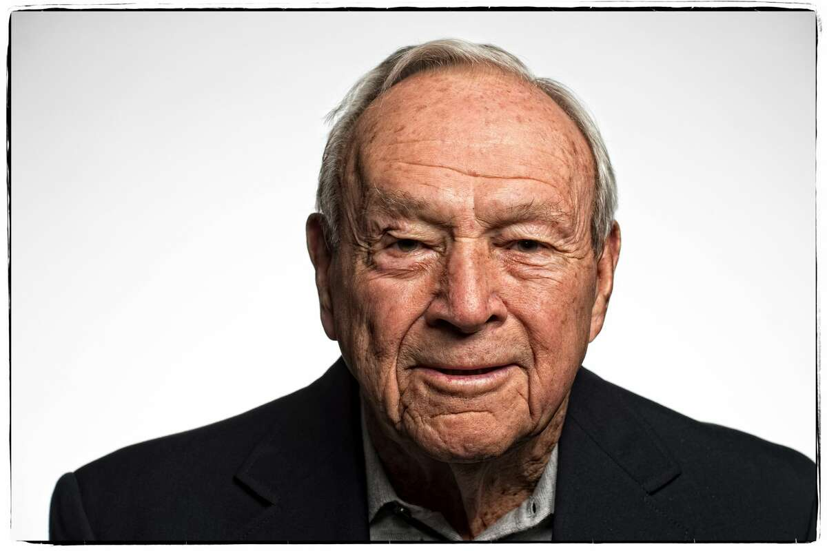 Arnold Palmer poses for a portrait during a sponsors message video shoot for the Arnold Palmer Invitational Presented By MasterCard at the Winnie Palmer Hospital on February 27, 2015 in Orlando, FL.