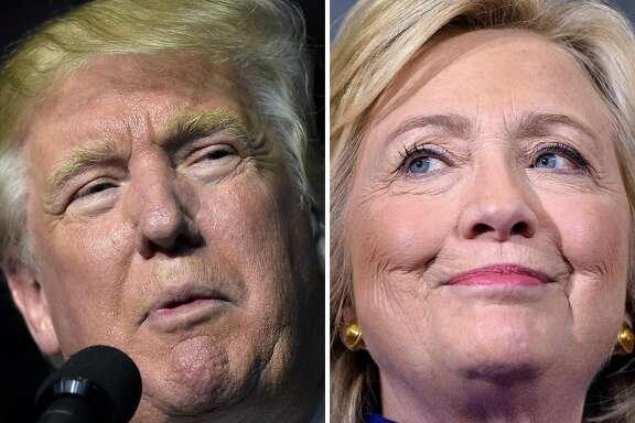 This combination of images shows Republican presidential nominee Donald Trump in Roanoke, Virginia on September 24, 2016 and Democratic presidential nominee Hillary Clinton September 21, 2016 in Orlando, Florida. Hillary Clinton and Donald Trump are in a virtual dead heat in their bitter race for the White House on the eve of their first head-to-head presidential debate, a new poll showed September 25, 2016. The Washington Post-ABC News poll found that Clinton's slim margin from last month has now vanished. Instead, the Democrat and her Republican rival tied at 41 percent support among registered voters, with Libertarian Party nominee Gary Johnson at seven percent and Green Party nominee Jill Stein at two percent.  / AFP PHOTO / DESKDESK/AFP/Getty Images