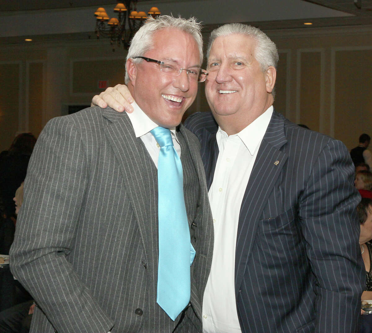 Joseph Nicolla, left, and then-Mayor Jerry Jennings at a 2012 benefit for Capital Region arts organizations. (Times Union file photo)