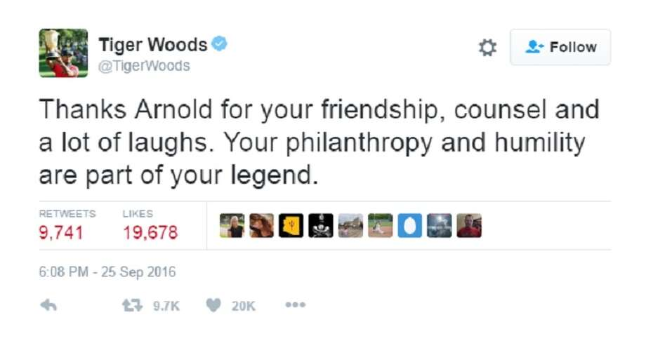 Celebrities, sports stars and politicians took to Twitter Sunday night to mourn the loss of golf legend Arnold Palmer.  Photo: Twitter Screen Grab