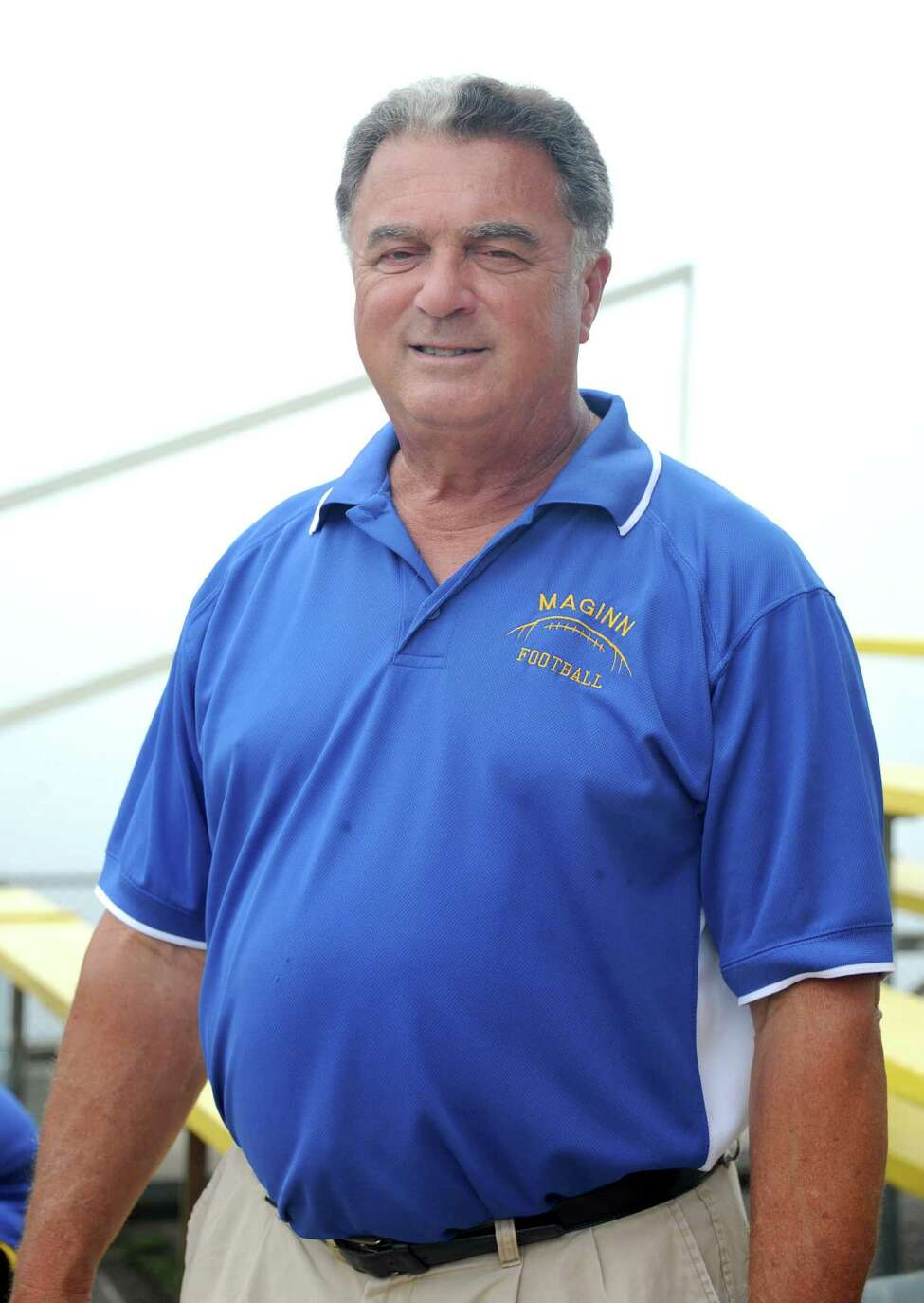 Bishop Maginn football coach Joe Grasso at section II football media day at UAlbany on Sunday, Sept. 1, 2013 in Albany, N.Y. (Lori Van Buren / Times Union)