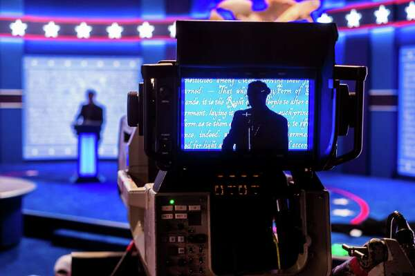 A stand-in for Republican presidential candidate Donald Trump is seen in a television camera monitor as preparations continue Sunday Sept. 25, 2106 for the presidential debate at Hofstra University in Hempstead, N.Y.