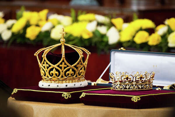 NUKU'ALOFA, TONGA - JULY 4:  The crown and coronet is seen for King Tupou VI of Tonga and Queen Nanasipau'u during the official coronation ceremony at the Free Wesleyan Church on July 4, 2015 in Nuku'alofa, Tonga. Tupou VI succeeds his brother, King Tupou V, who passed away in 2012. (Photo by Edwina Pickles/Fairfax Media/Getty Images)