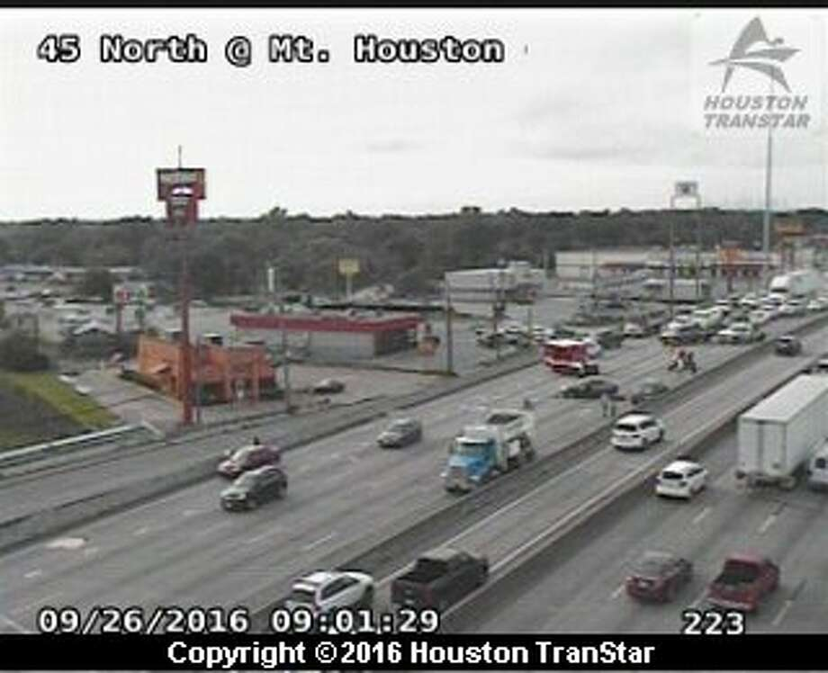 A seven-vehicle accident shut down all northbound lanes of I-45 at Mount Houston road, Monday, Sept. 26, 2016.