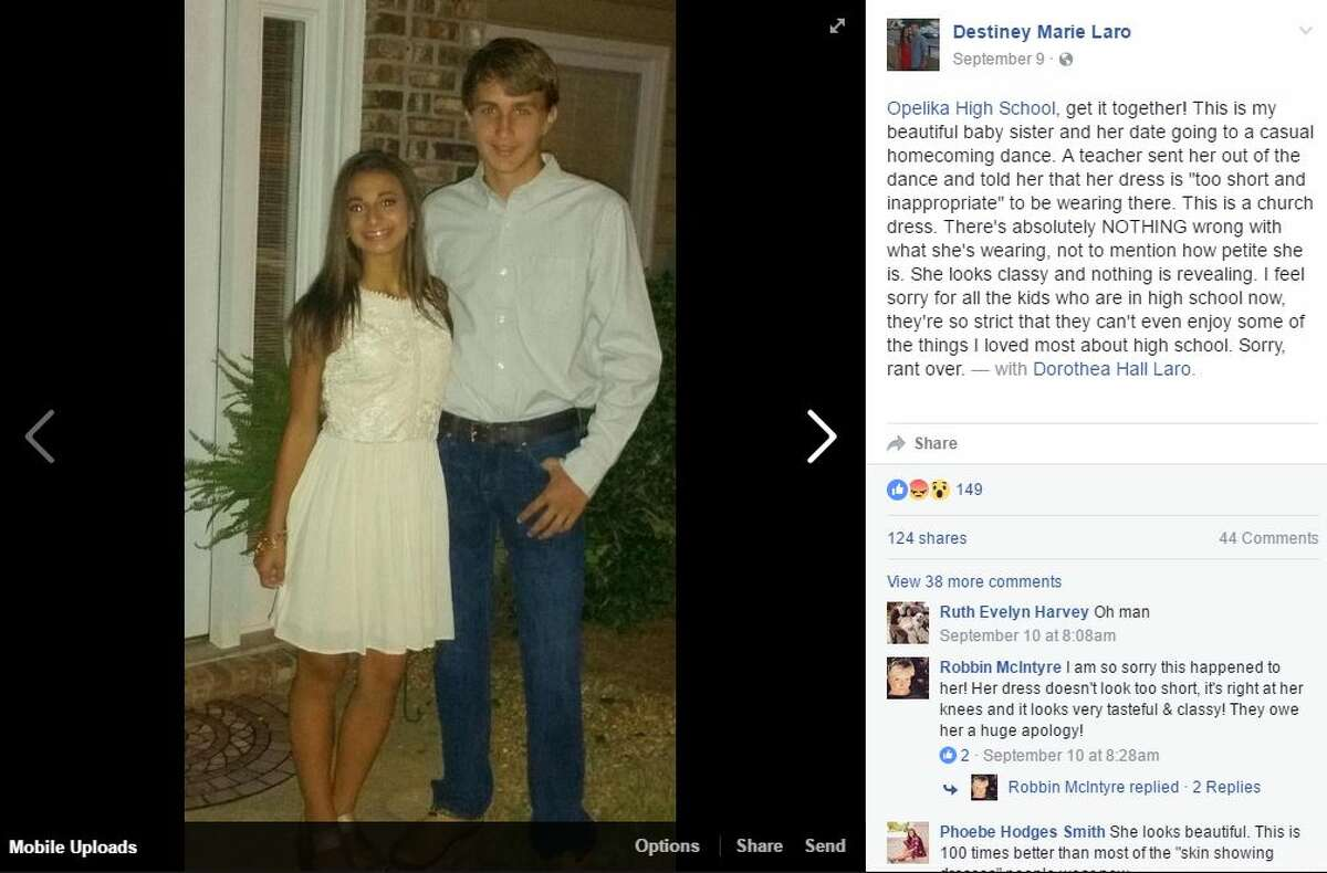 This Opelika High School student in Opelika, Ala., was turned away from her homecoming dance because her dress was deemed inappropriate. Several other students suffered the same embarrassment. Photo: Destiney Laro