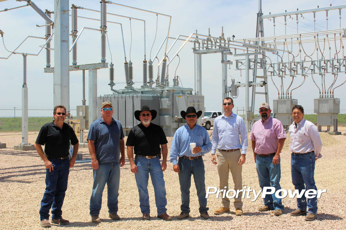 Members of the Endeavor Energy Resources and Priority Power Management team are seen at the new Endeavor Bryant Ranch EHV Substation serving oil and gas production in the Midland Basin.