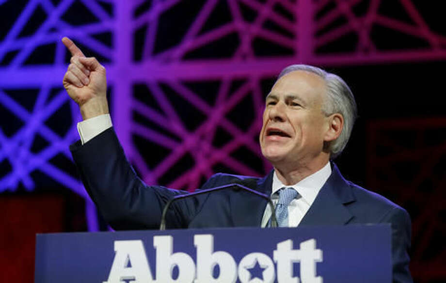 FILE - In this May 12, 2016, file photo, Texas Gov. Greg Abbott speaks during the opening of the Texas Republican Convention in Dallas.Gov. Greg Abbott, Lt. Gov. Dan Patrick andTexasHouse Speaker Joe Straus announced Friday that they are directing state agencies to cut 4 percent from their requests for allocations from the 2018-2019 budget.