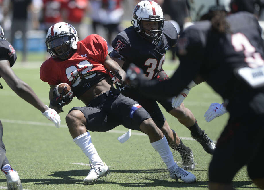 Texas Tech wide receiver Keke Coutee (82) runs the ball during the spring scrimmage Saturday, April 2, 2016, at Grande Communications Stadium. James Durbin/Reporter-Telegram Photo: James Durbin