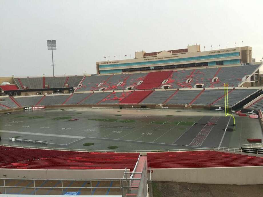 Flooding Jones AT&T Stadium on Wednesday afternoon.  Photo: The Daily Toreador