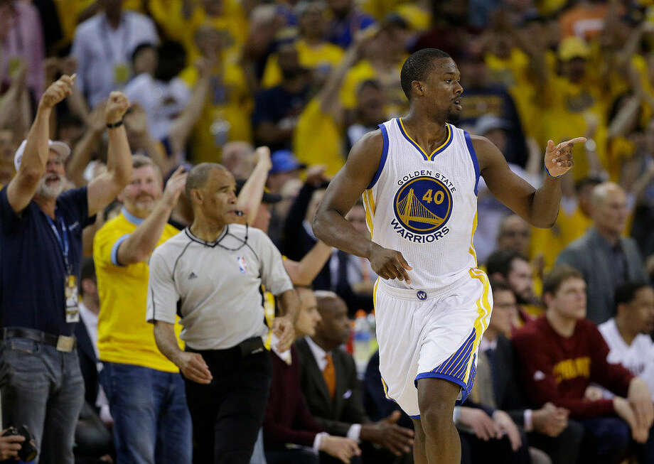 Golden State Warriors forward Harrison Barnes (40) gestures after scoring against the Cleveland Cavaliers during the second half of Game 7 of basketball's NBA Finals in Oakland, Calif., Sunday, June 19, 2016. (AP Photo/Marcio Jose Sanchez) Photo: Marcio Jose Sanchez/AP Photo