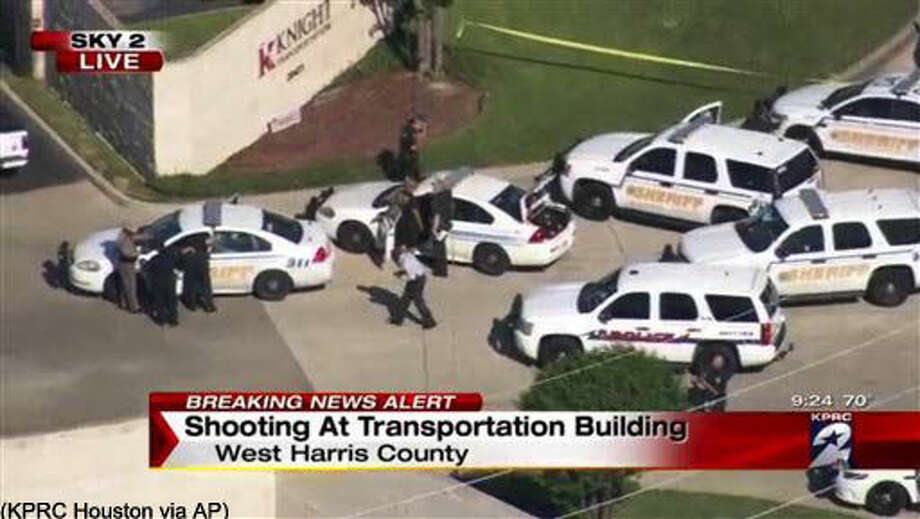 Officers respond to reports of a deadly shooting at the Knight Transportation office in Katy, Texas, Wednesday, May 4, 2016. Authorities said a recently fired employee opened fire at the transportation company. (KPRC Houston via AP) MANDATORY CREDIT Photo: TEL
