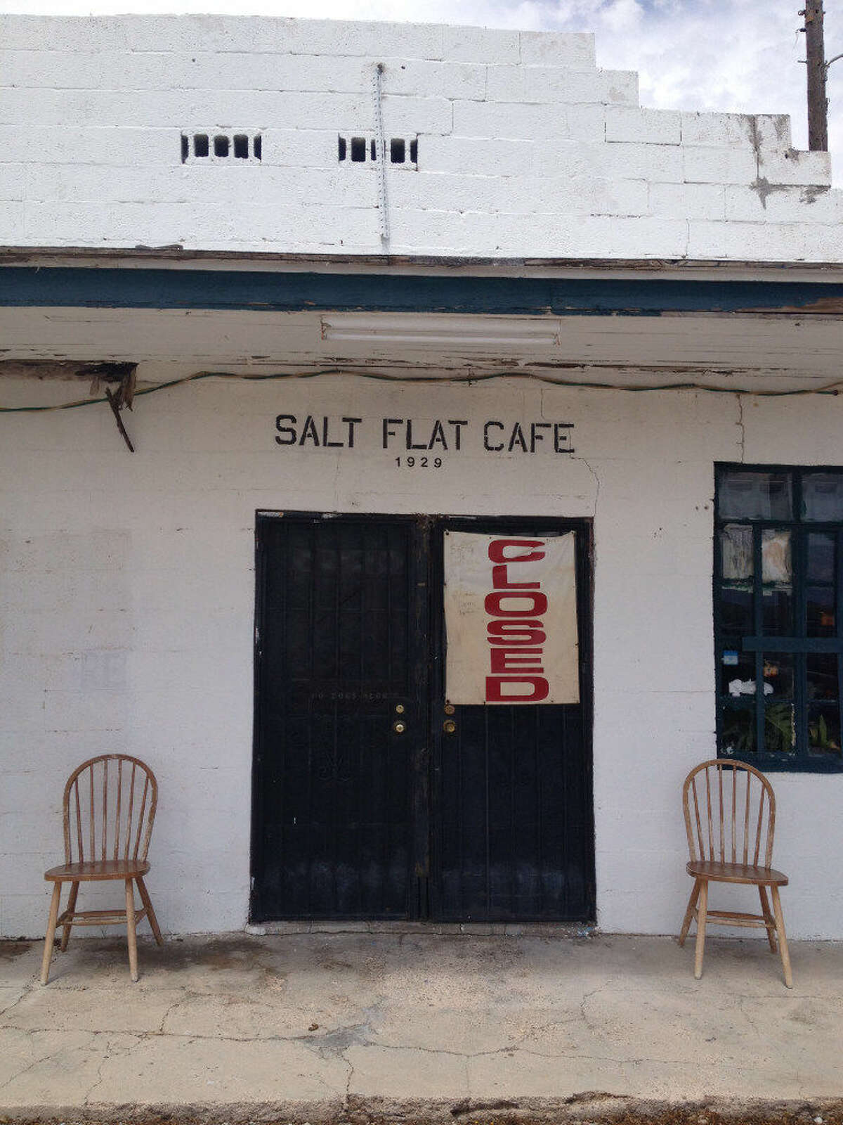 Shirley Richardson's grandparents opened the Salt Flat Cafe and bus stop in 1929. Closed for eight months, it will reopen when Richardson recovers from injuries sustained when she fell trying to keep a dog from being hit by a truck.