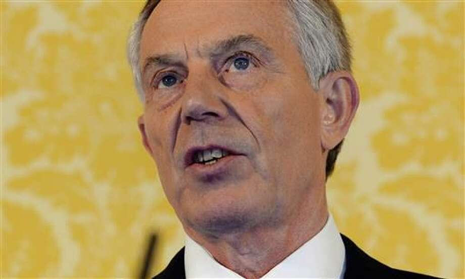 British former Prime Minister Tony Blair holds a press conference at Admiralty House, London, after retired civil servant John Chilcot presented The Iraq Inquiry Report on Wednesday, July 6, 2016. Blair said he takes full responsibility for the decision and that the British military and civil service are not to blame for the problems that developed after the U.S.-led invasion of Iraq in 2003. (Stefan Rousseau/Pool via AP)