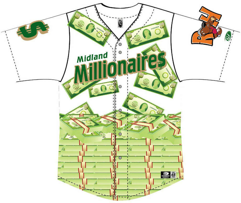 A diagram of the jersey the RockHounds will wear when they will play as the Midland Millionaires between Aug. 18-20 at Security Bank Ballpark. Photo: Courtesy
