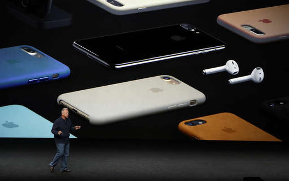 Phil Schiller, Apple's senior vice president of worldwide marketing, talks about the pricing on the new iPhone 7 during an event to announce new products Wednesday, Sept. 7, 2016, in San Francisco. (AP Photo/Marcio Jose Sanchez) Photo: Marcio Jose Sanchez