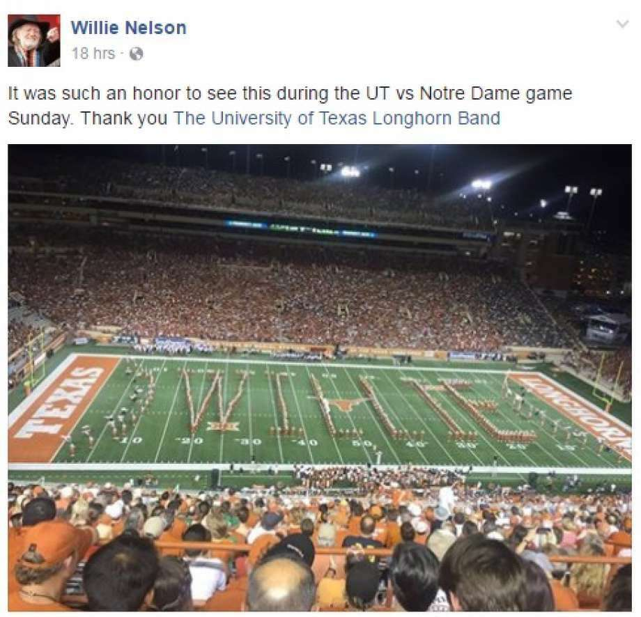 "The UT Longhorn Band spelled out ""Willie"" at the game on Sept. 4, for singer Willie Nelson. Photo: Facebook"