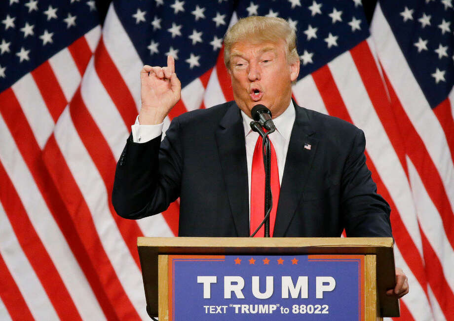 Republican presidential candidate Donald Trump speaks during a rally in Eugene, Ore., on Friday. Photo: Associated Press