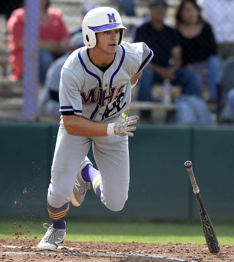 Midland's Chris Sims (22) hits against Odessa High on Tuesday, April 19, 2016, at Zachery Field. James Durbin/Reporter-Telegram Photo: James Durbin